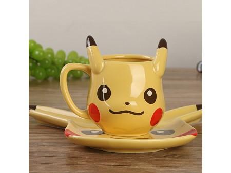 Керамическая чашка пикачу с тарелкой