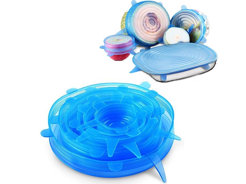 Растягивающиеся силиконовые крышки для посуды